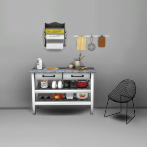 kitchen island and carlesso chair