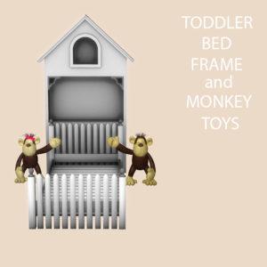 toddler bed frame and monkeys